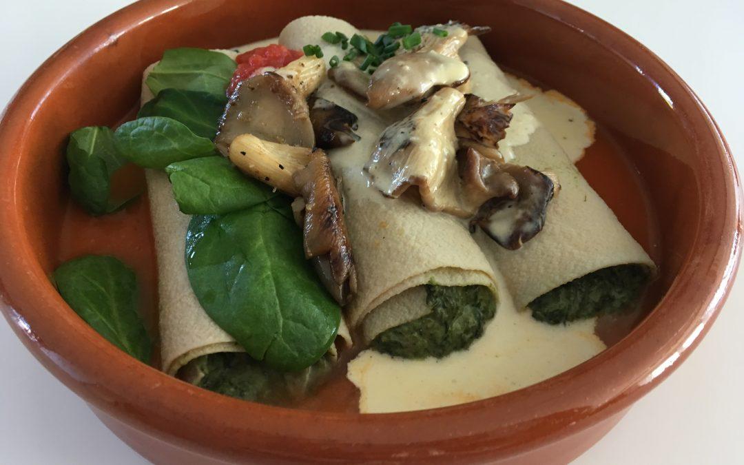 Cannelloni met spinazie & oesterzwammen.
